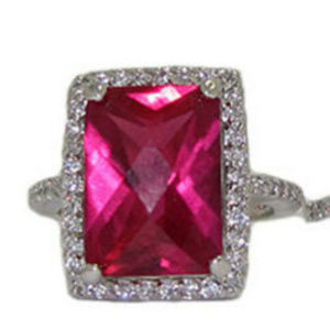 NWT ring pink cz white gold plate inverted cushion